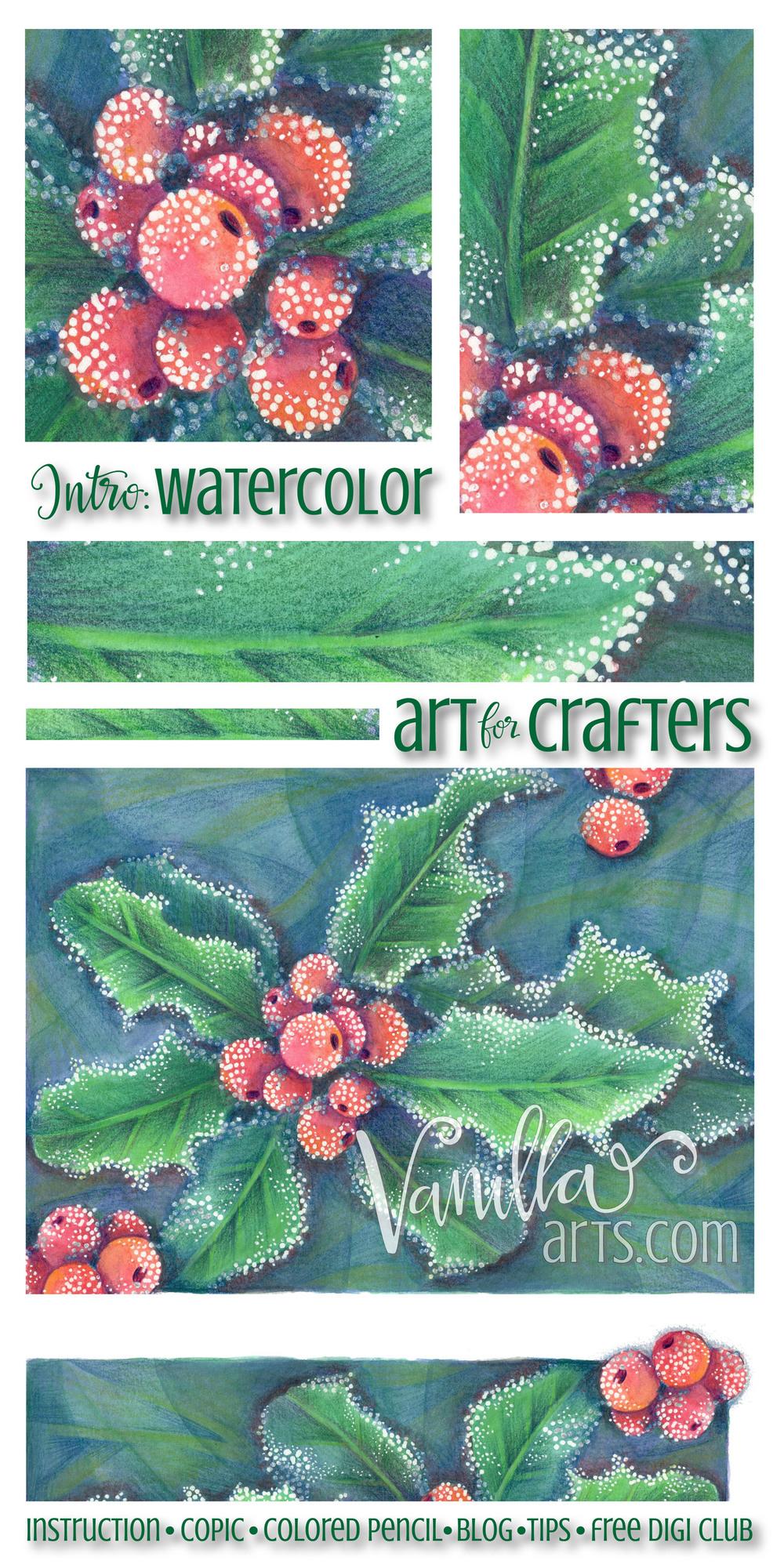 Intro to watercolor lesson using watercolor pencils | VanillaArts.com
