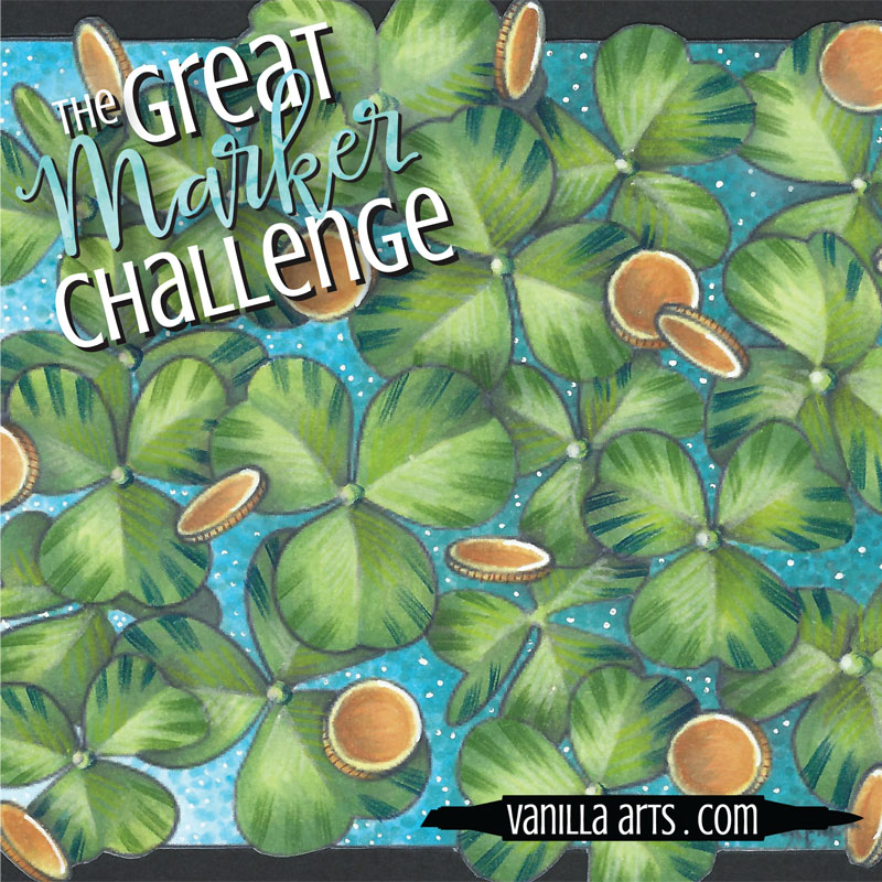 Shamrocks & Gold, digital stamp from VanillaArts.com | Great Marker Challenge- coloring a year of images with only 42 Copic Markers
