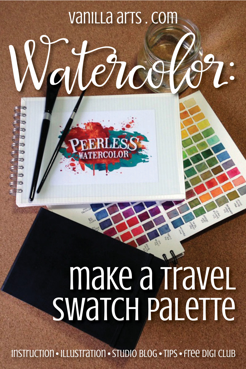 Make a travel palette from Peerless Watercolor Swatches | VanillaArts.com