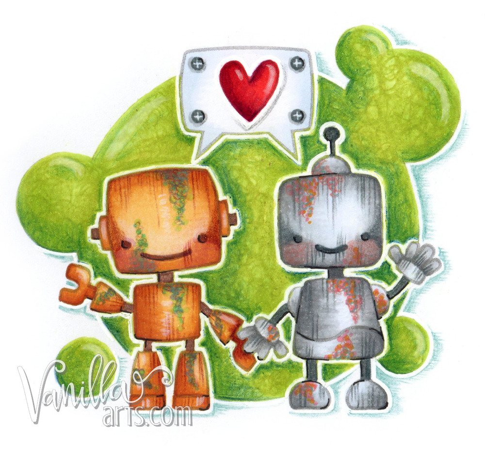 "Copic Club April 2016 ""Boom Bots"" (Intro to Coloring Metals) 