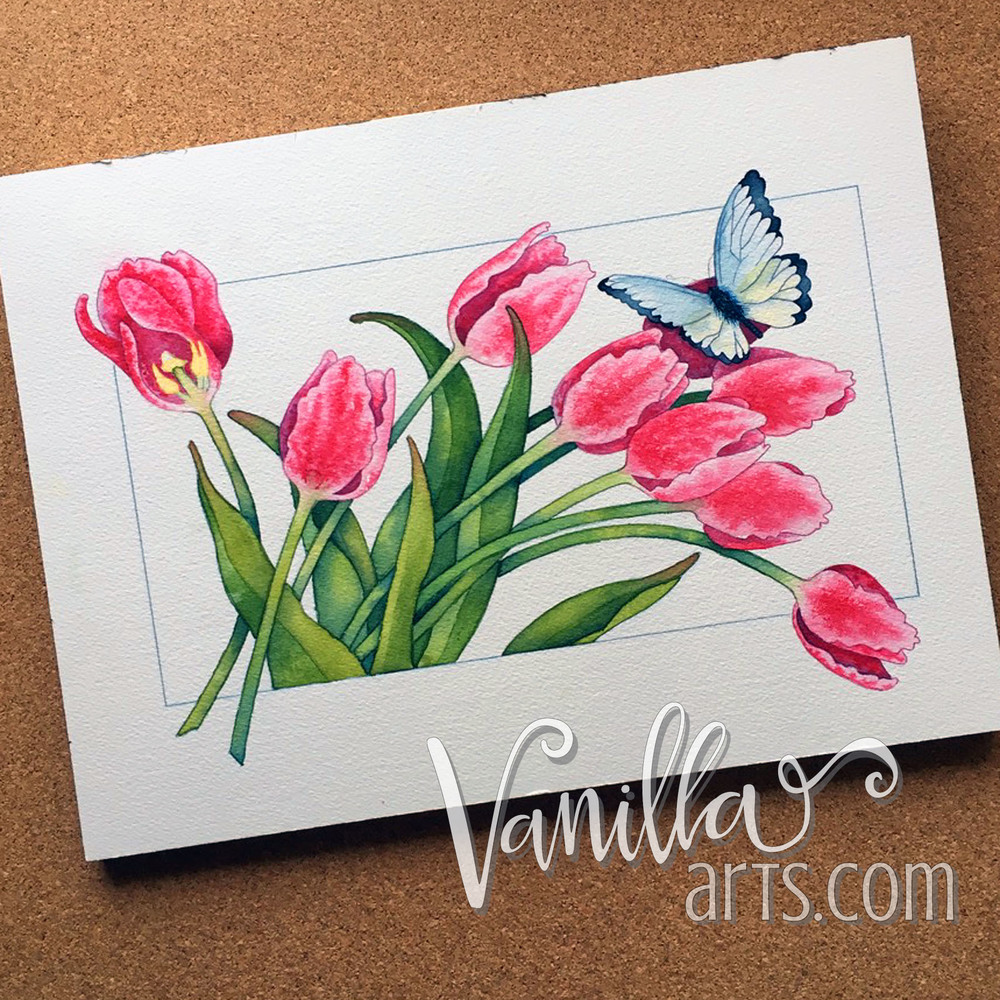 "Stage 2 of ""Tulips"" a watercolor lesson for Copic students 