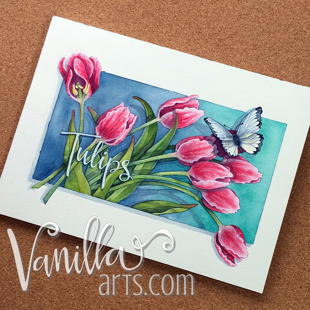 "Finished ""Tulips"" project, watercolor lessons for Copic colorers 