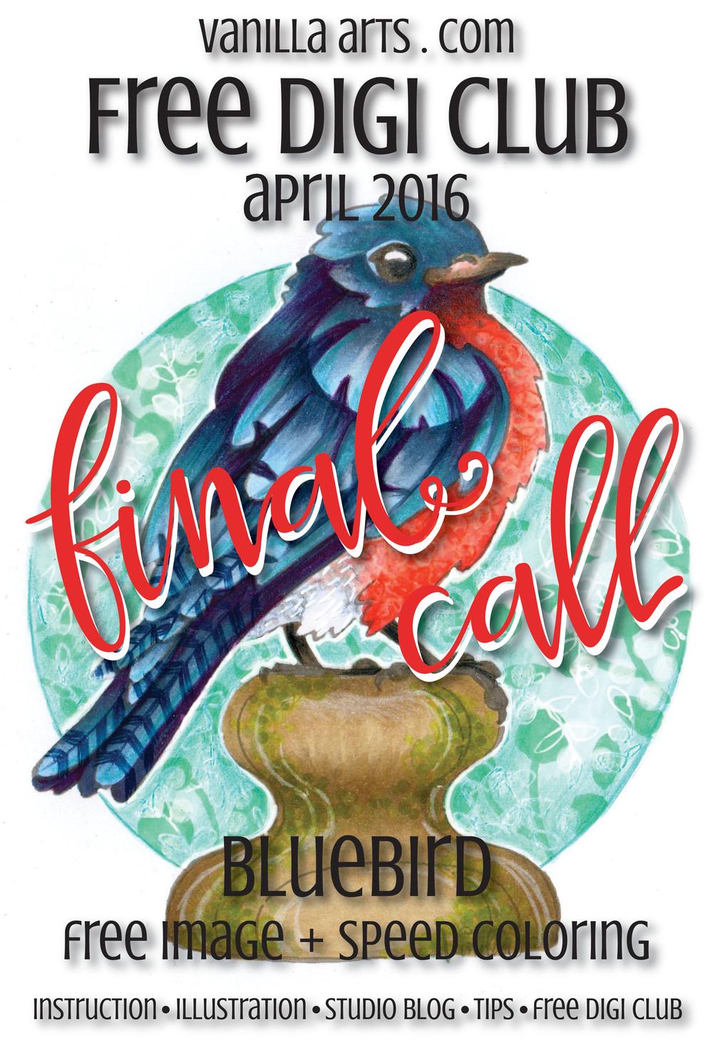 "Final call for ""Bluebird"" a Free Digi Club Image for Copic | VanillaArts.com"