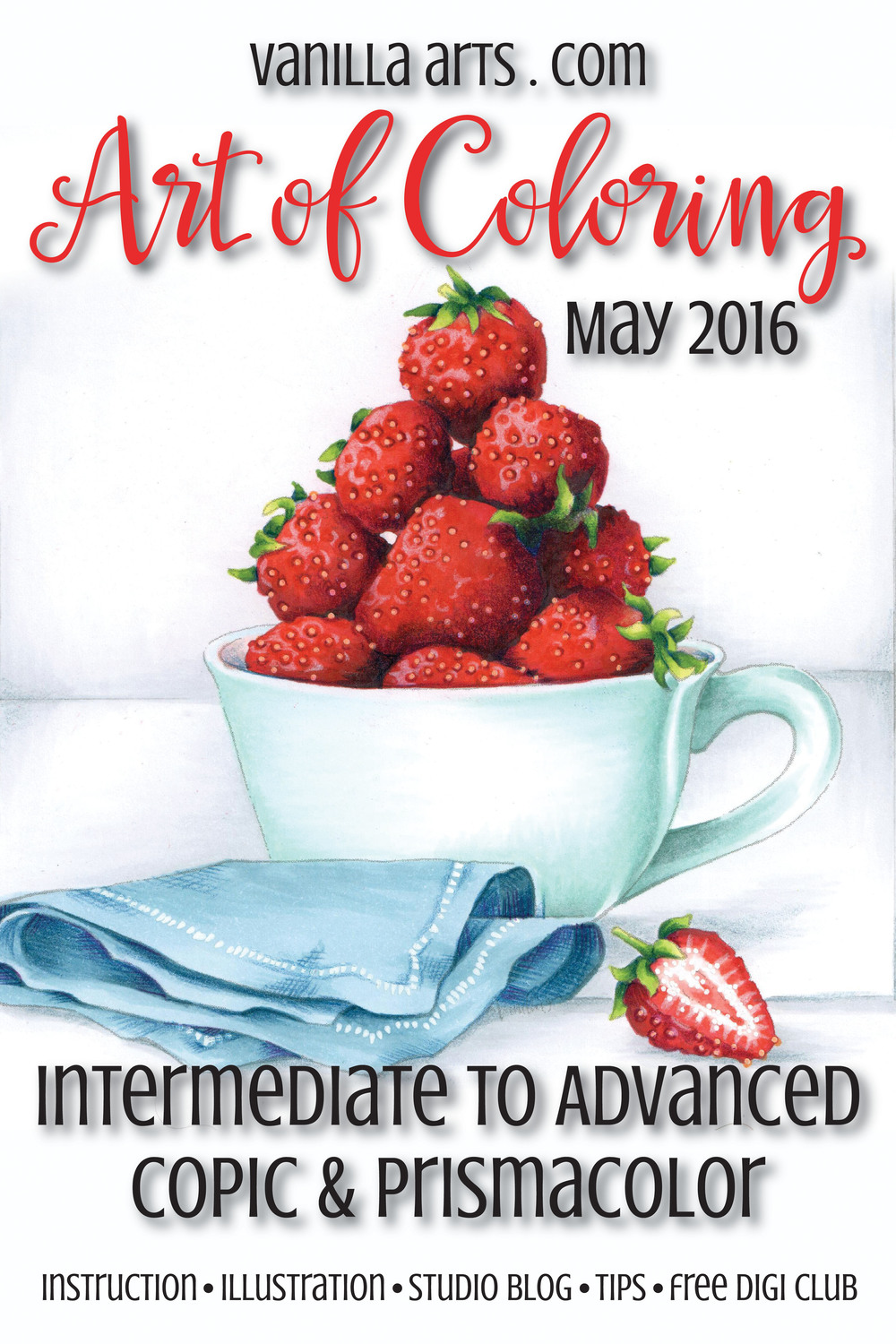 "Advanced Copic classes for May 2016 ""Strawberry Tea"" 
