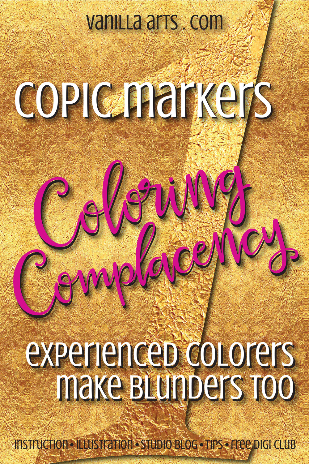 A look at mistakes common to experienced Copic colorers. Blunder #1- using too many markers. | VanillaArts.com