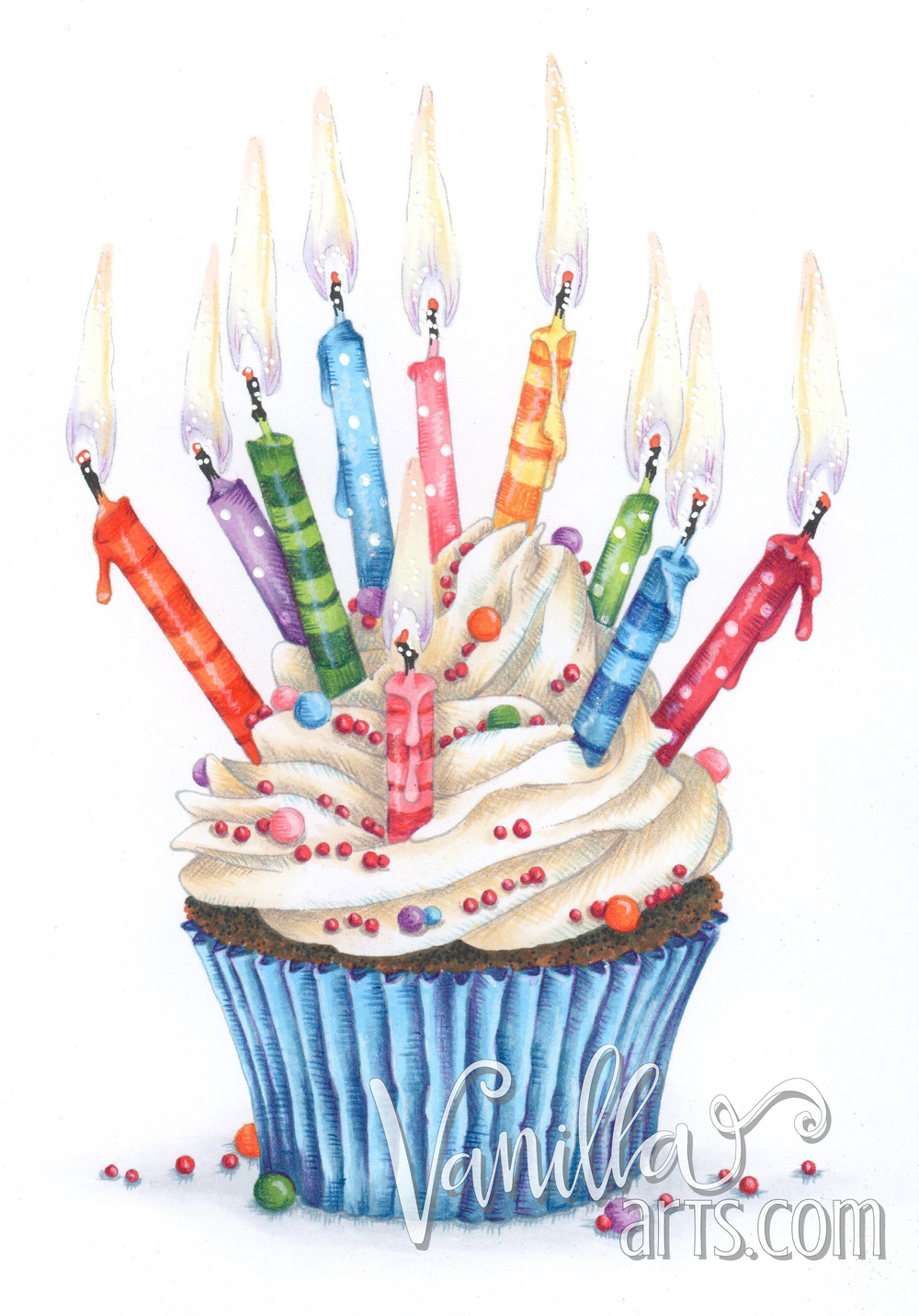 Celebration Cupcake an original digital stamp  | VanillaArts.com