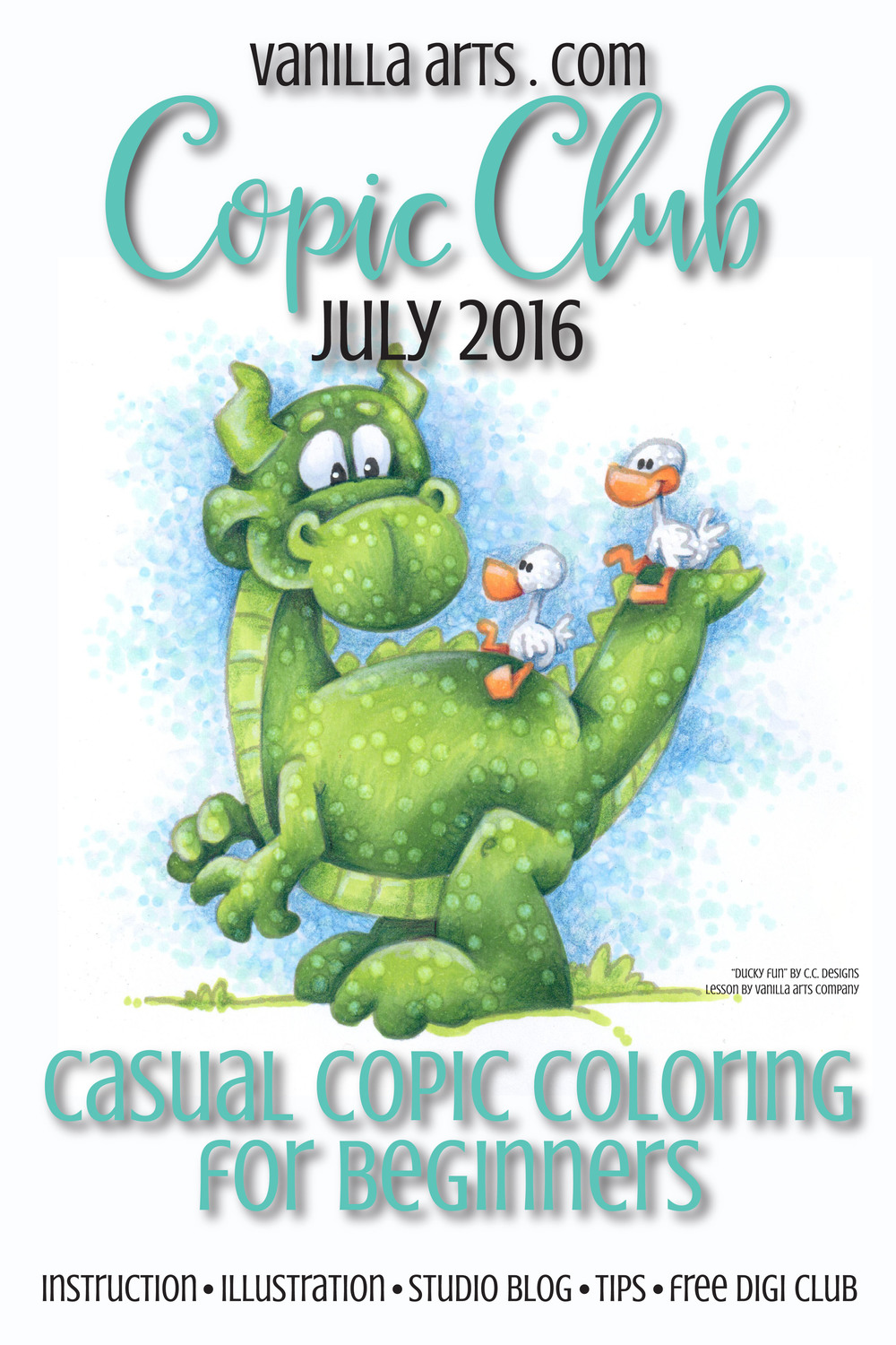 Copic Club for July, learn to use Colorless Blender. Ducky Fun by CC Designs | VanillaArts.com