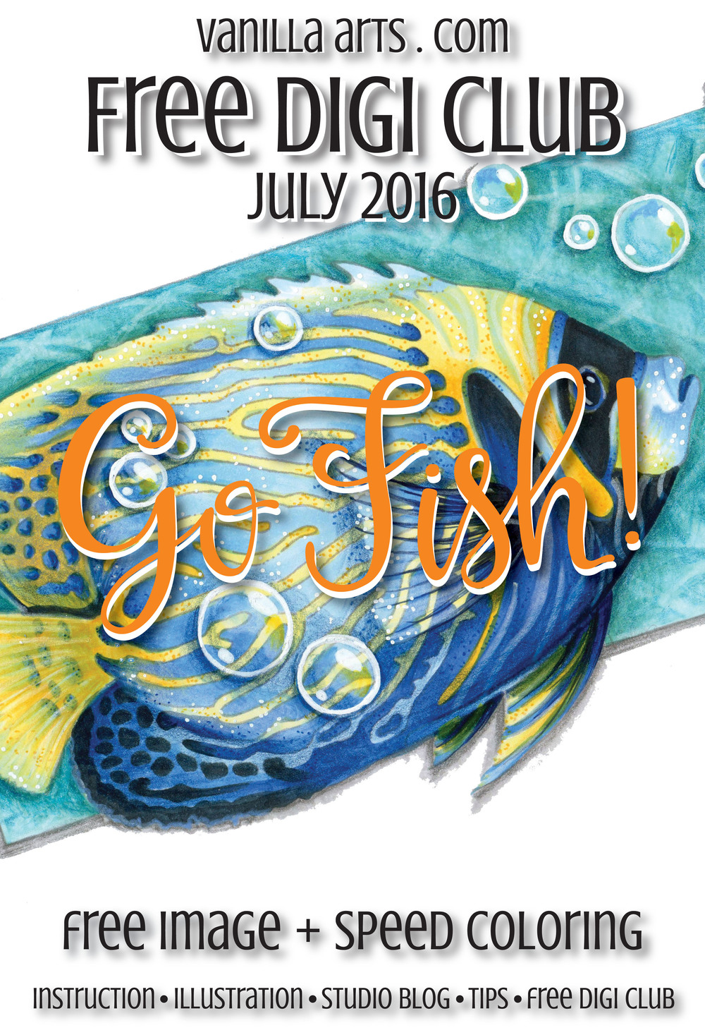July 2016's Free Digi Club image. Every month subscribers receive 1 new coloring image | VanillaArts.com