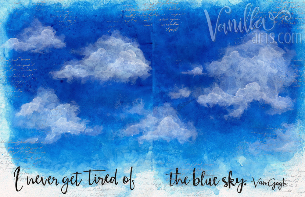 """Blue Sky"" a 12 Pages art journaling lesson 