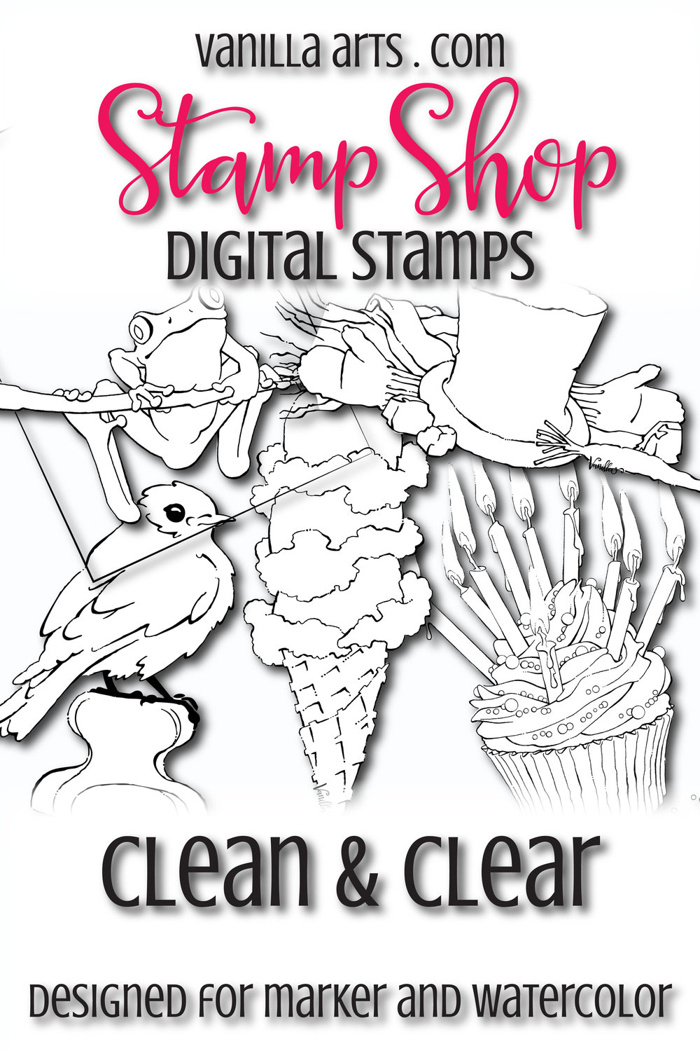 Finally! Digital stamps designed especially for the unique needs of marker colorers and watercolorists | VanillaArts.com