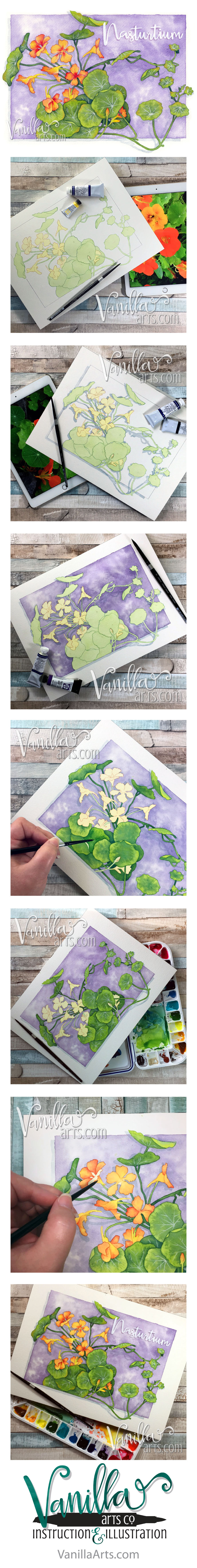 """Nasturtium"" a botanical watercolor for Sept 2016 h2Oh! class. Teaching Copic colorers to apply their skills to watercolor paints. 