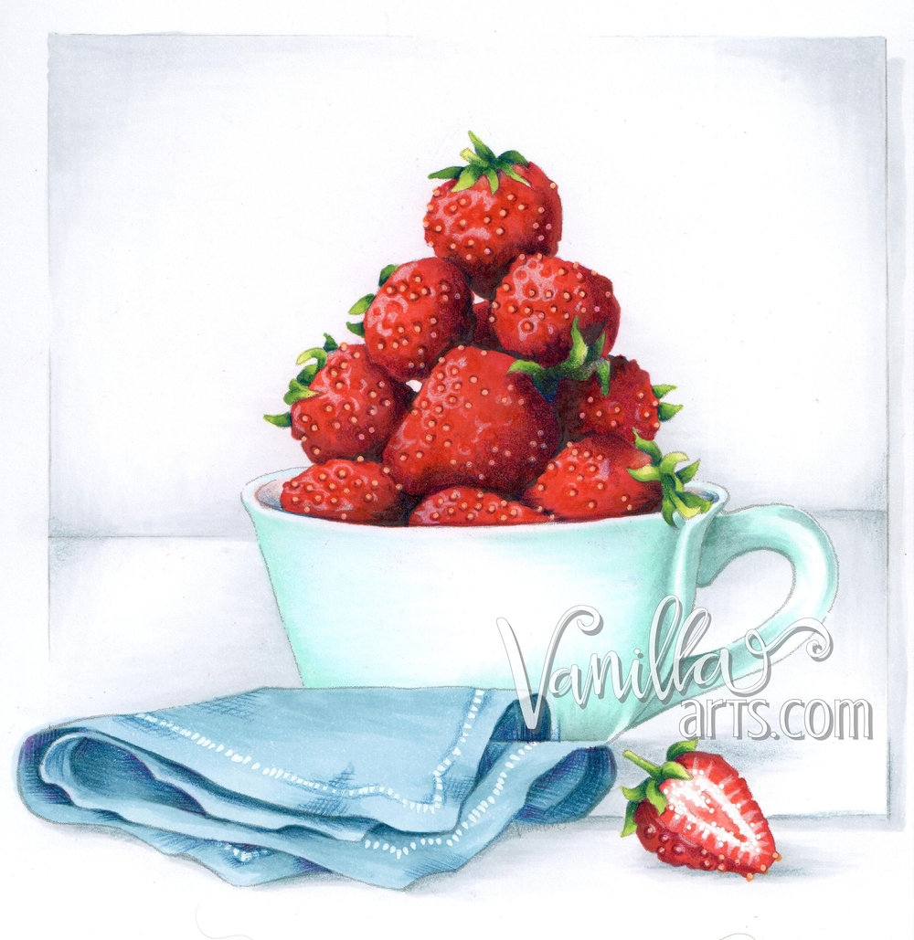 """Strawberry Tea"" for Art of Coloring- challenge your skills with realism techniques."