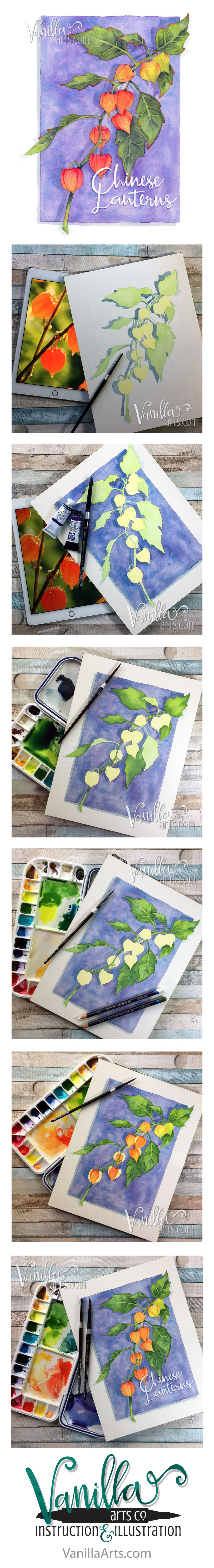 nasturtium- h2oh! teaching copic colorers to apply their skills to watercolor. | VanillaArts.com