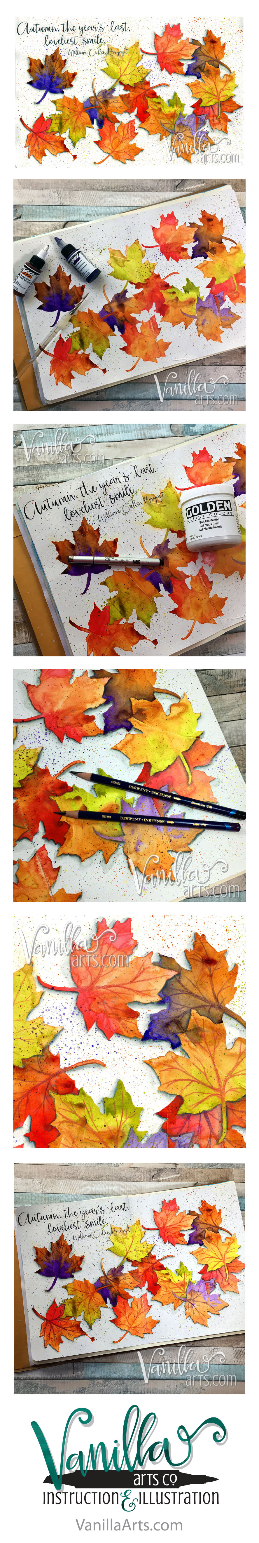 """Autumn Smile""- 12 Pages Class is expressive, kit-based art journaling lessons for papercrafters and Copic colorers. 
