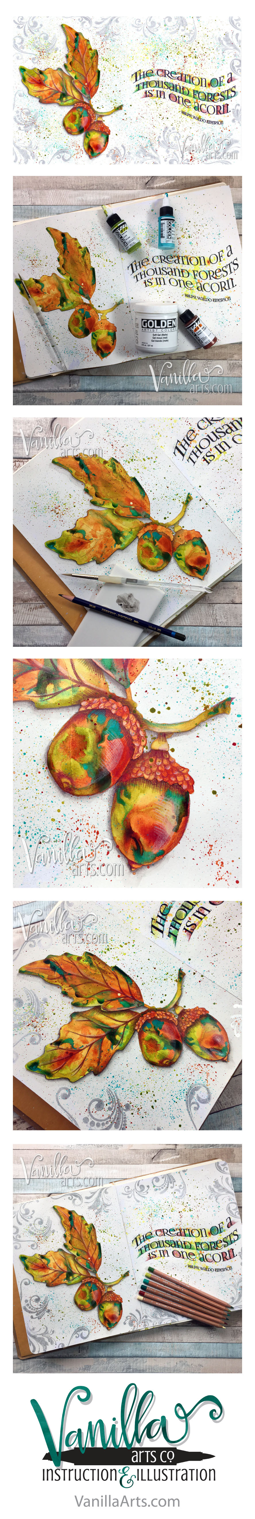 """One Acorn""- Expressive, kit-based art journaling lessons for paper crafters and Copic colorers 
