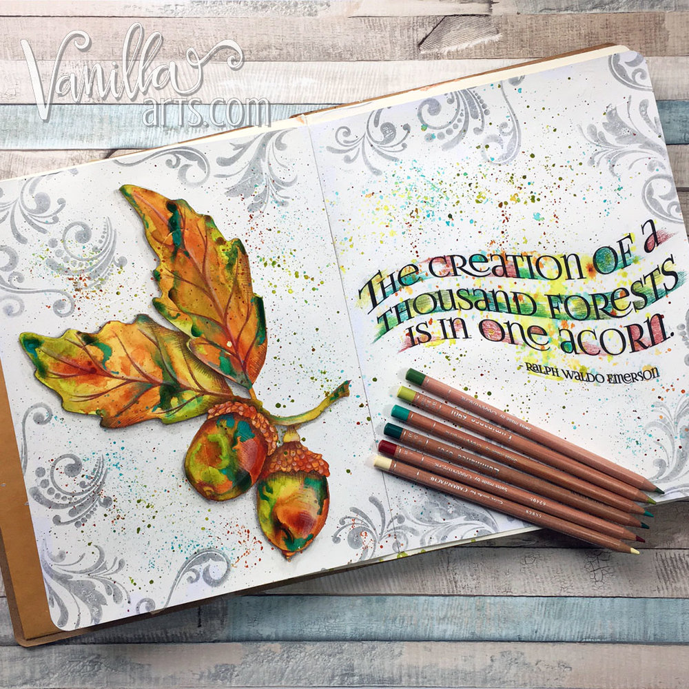 """One Acorn"" kit based art journaling for paper crafters and Copic colorers 