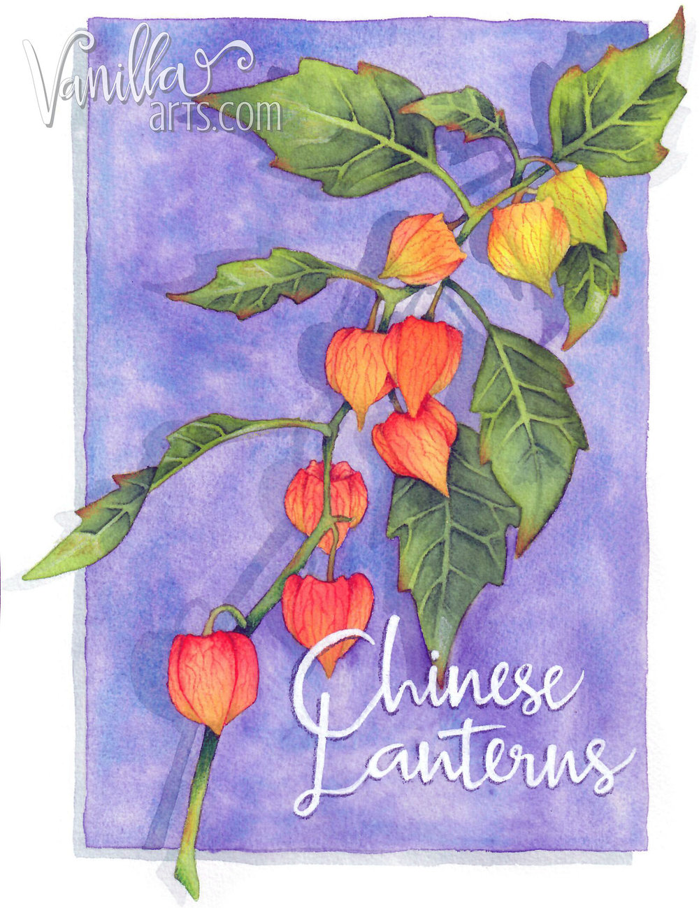 """Chinese Lanterns"" a beginner watercolor project for Copic students looking to translate their coloring skills to watercolor paints. 