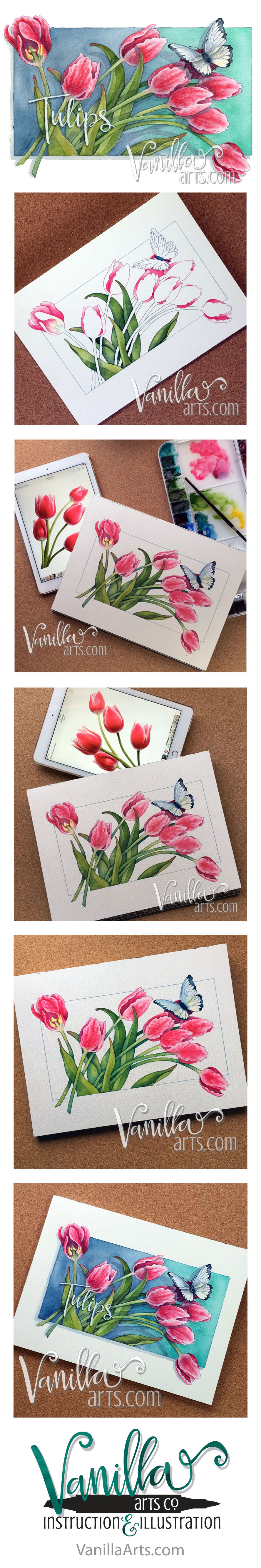 """Tulips"" an H2Oh! watercolor lesson. Teaching Copic colorers to apply their skills to watercolor. 