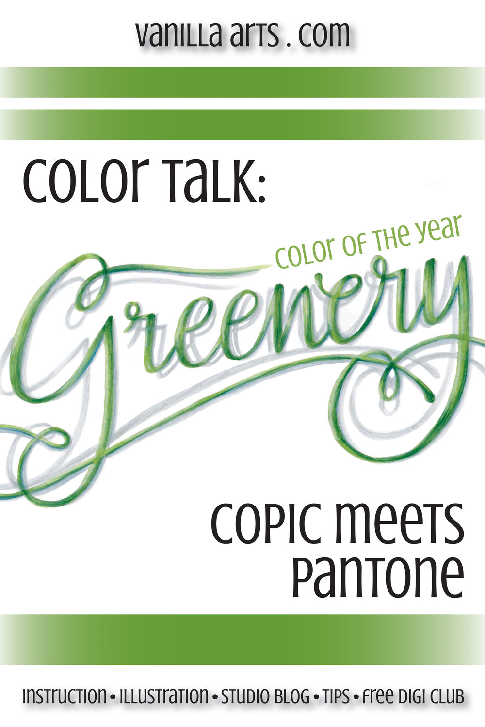 "Pantone's Color of the Year, ""Greenery"" meets Copic Markers. 