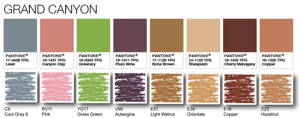 "Pantone Palette featuring ""Greenery"" translated to Copic 
