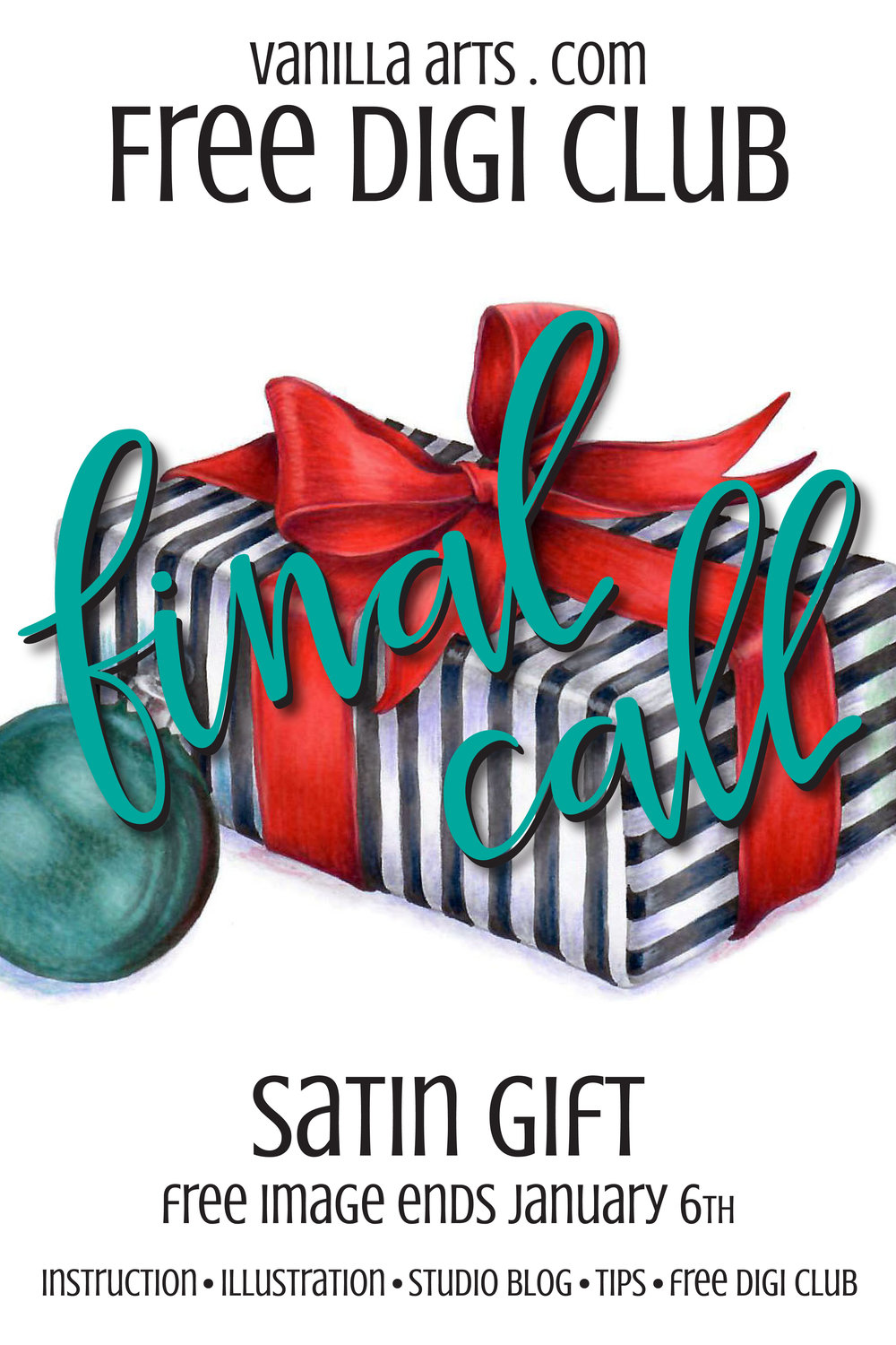 "Don't miss your chance to receive a FREE copy of the ""Satin Gift"" digital stamp. Free to subscribers of the FREE Digi Club. 