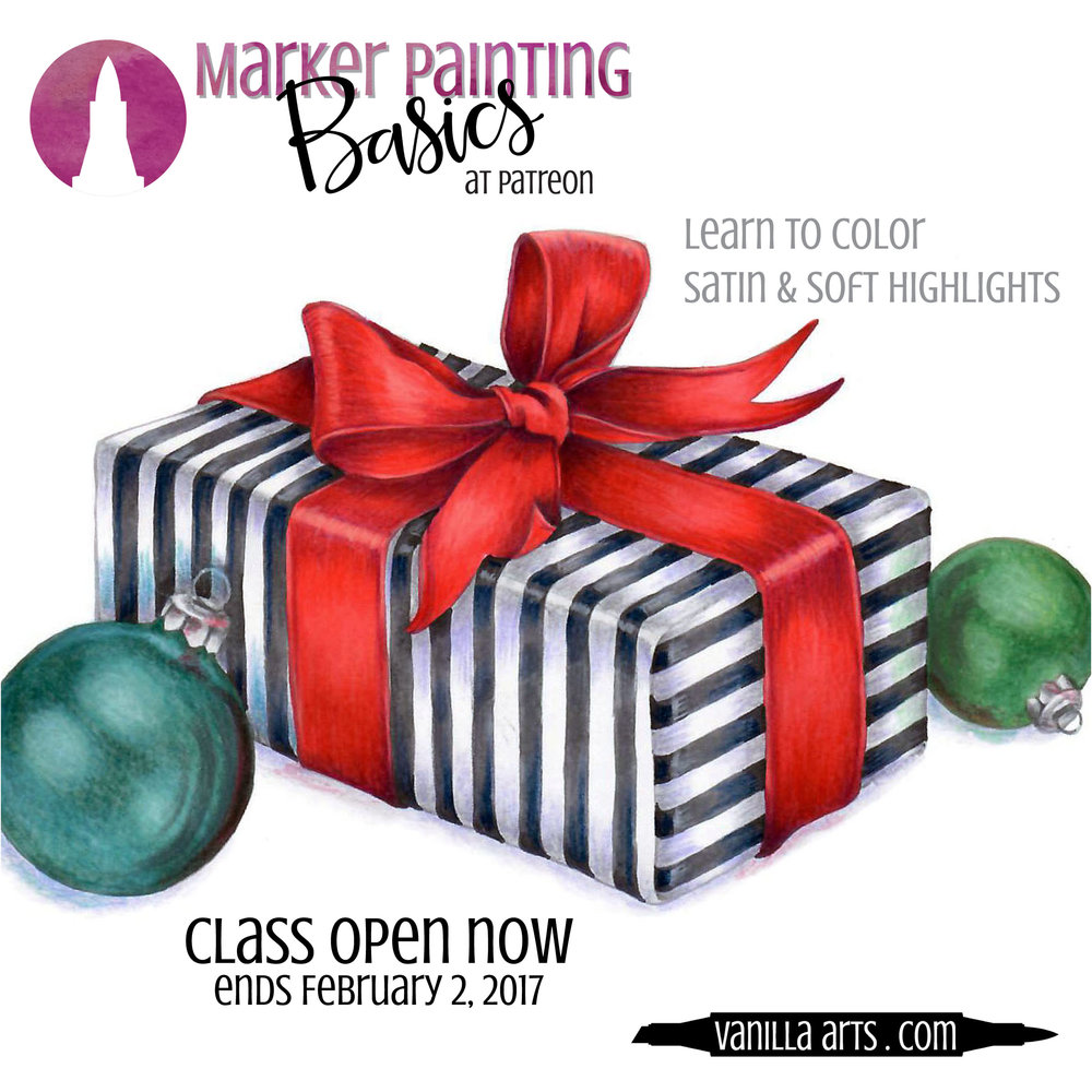 """Satin Gift"" a beginner level Copic Marker ONLINE class. Learn about soft highlights and gentle reflections. 