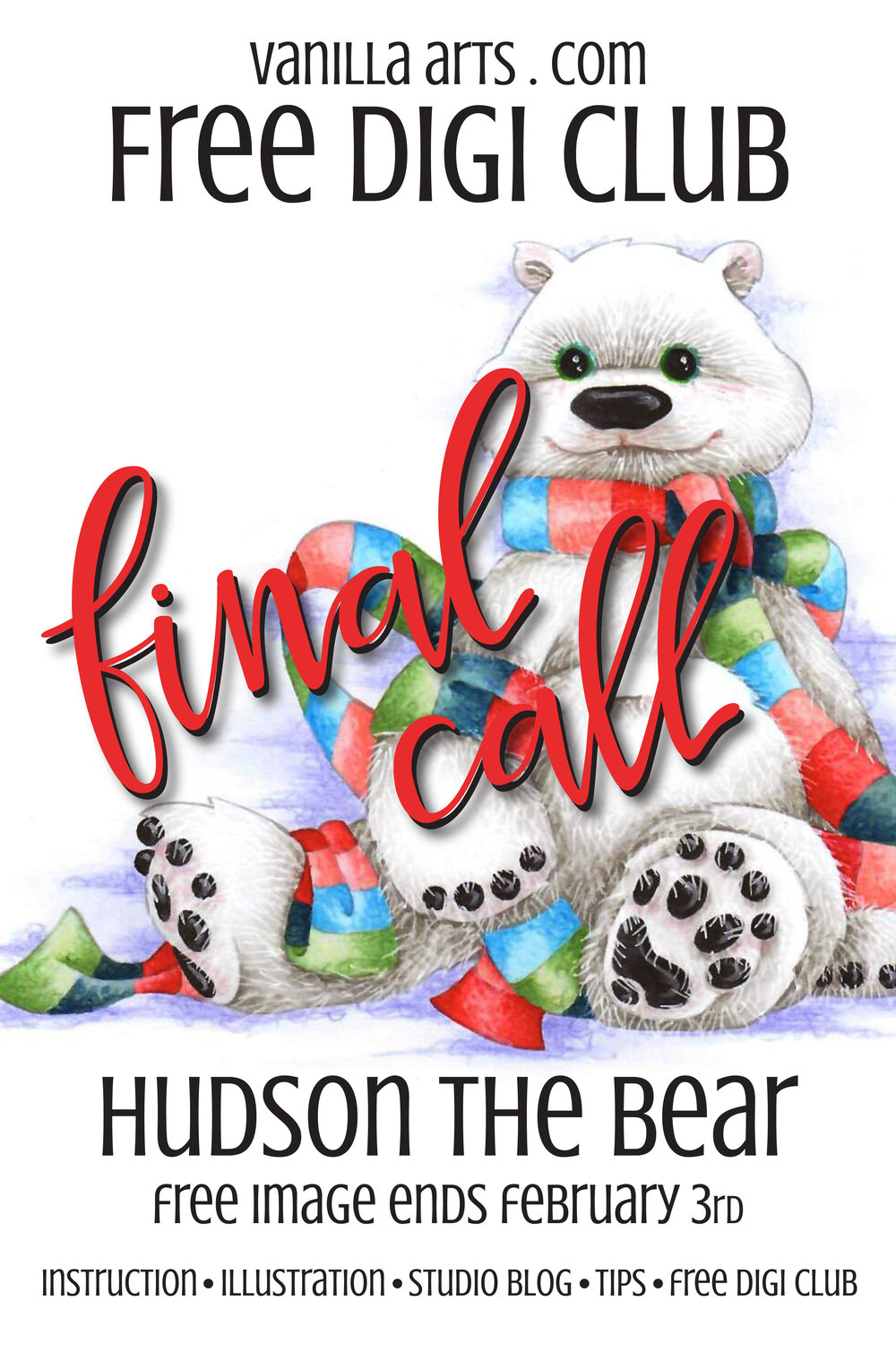 Final Call: Hudson the Bear, a free digi for Copic or colored pencil is about to expire. Get your copy quick! | VanillaArts.com