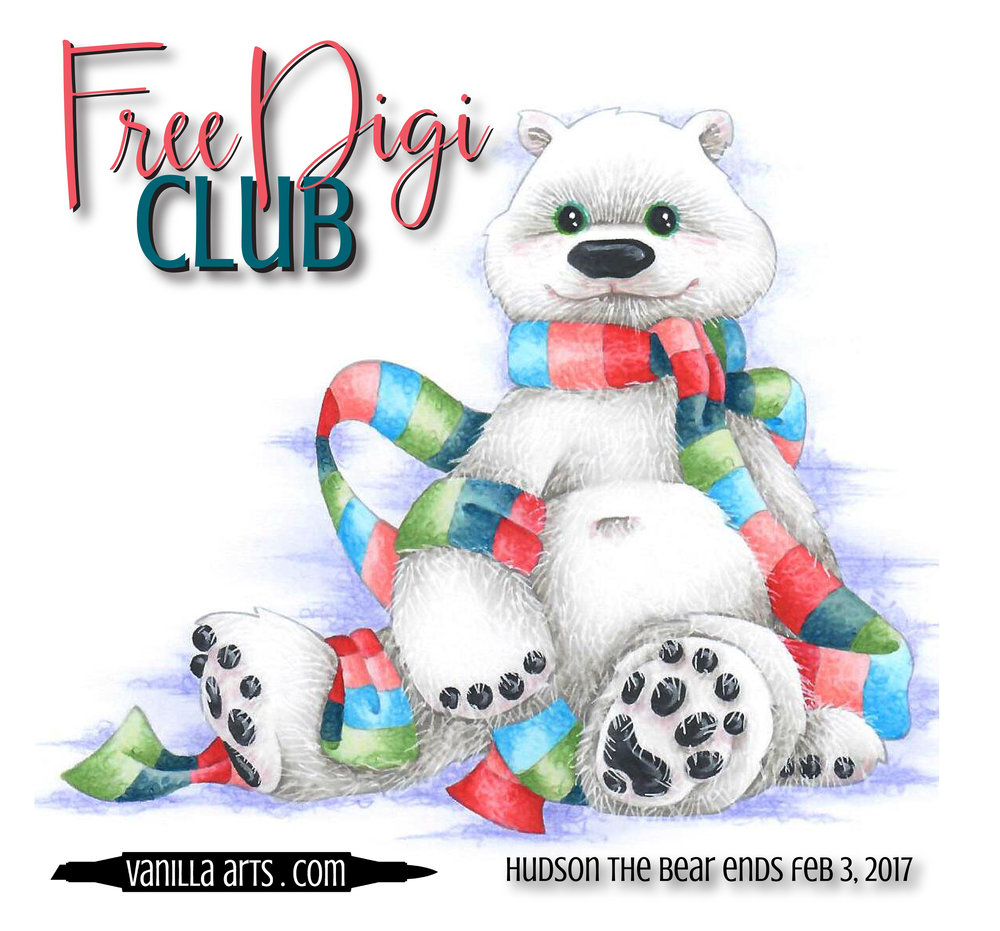 "Free Digi Club- color ""Hudson the Bear"" with Copics, colored pencils, or even watercolor! 