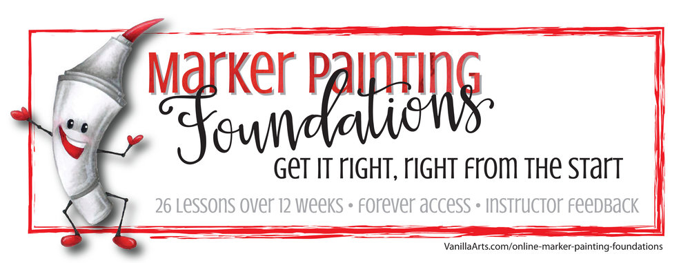 Marker Painting Foundations- giving you the techniques and mindset to color with serious depth and realism. | VanillaArts.com