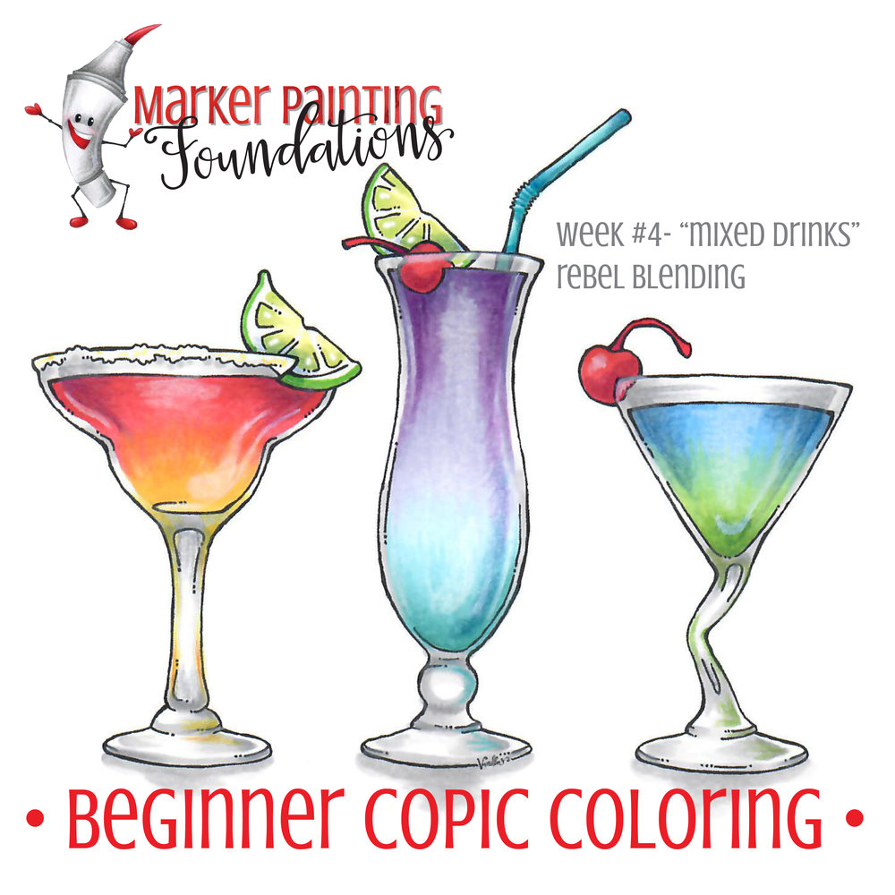 Marker Painting Foundations help you break the Copic Marker rules. Because you can't make art if you're handcuffed to blending trios. | VanillaArts.com