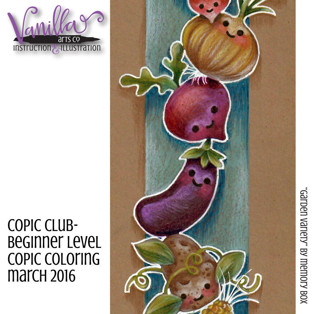 Learn to color with Copic & Prismacolor on kraft paper. Copic Club casual coloring classes. | VanillaArts.com