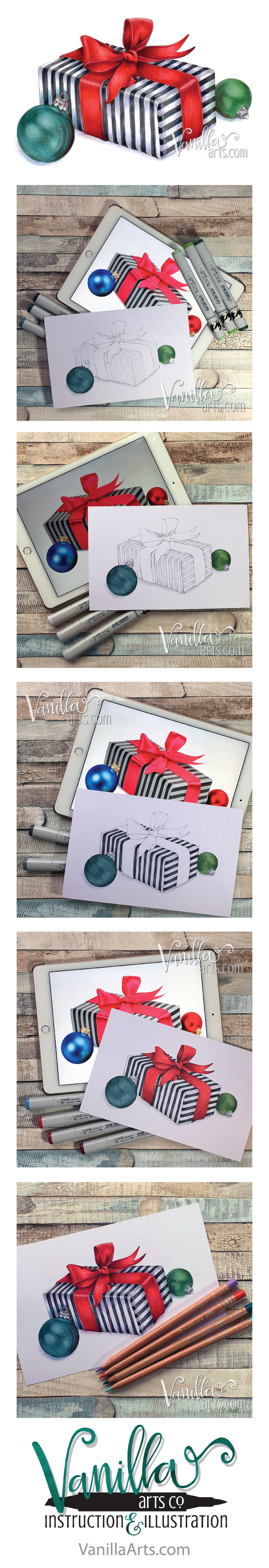 "Join the Free Digi Club to receive challenging stamp images designed for Copic, colored pencil, or watercolor. ""Satin Gift"" Dec 2016 