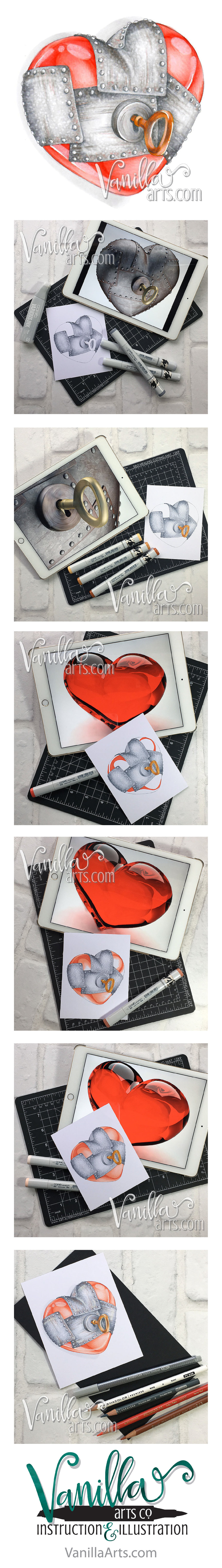 "Join the Free Digi Club to receive challenging stamp images designed for Copic, colored pencil, or watercolor. ""Guarded Heart"" Feb 2017 