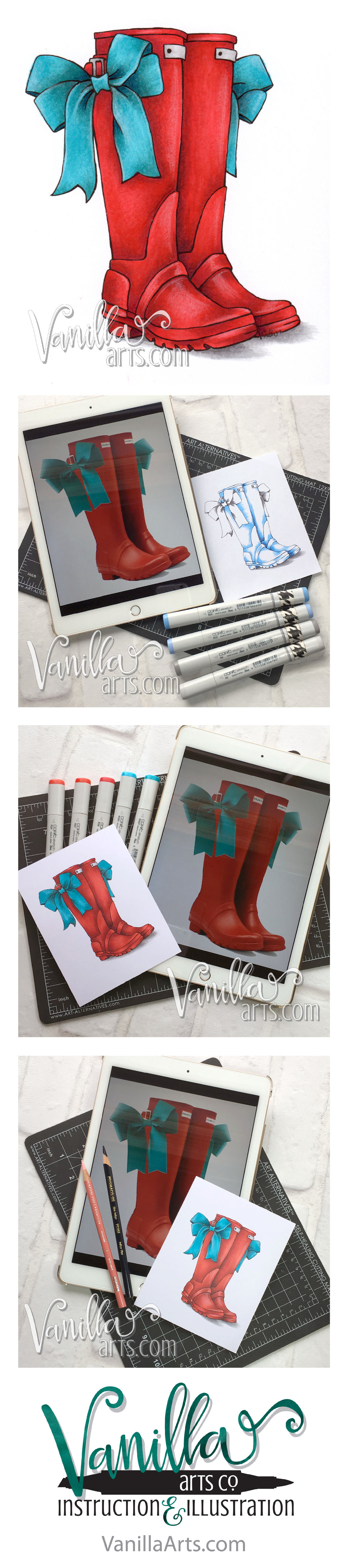 "Beginner Online Course- Marker Painting Foundations, ""Red Boots"". Week 7 lesson on color sculpting for dimension with Copic Markers. 