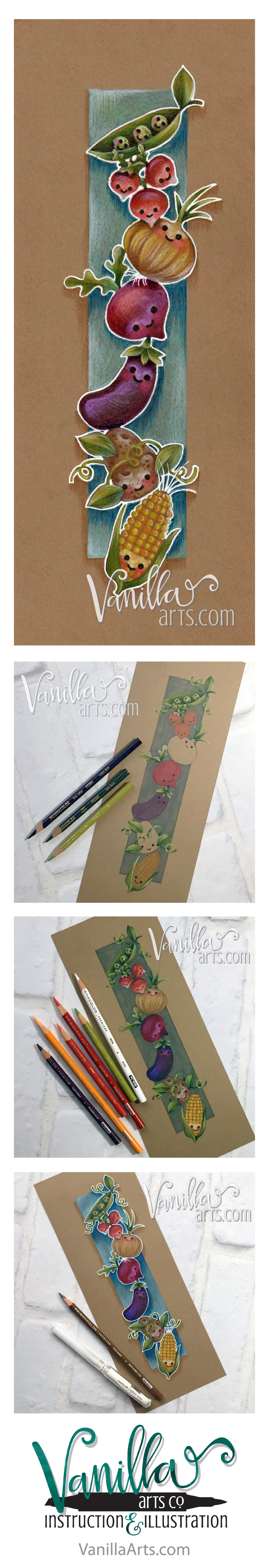 Happy Veggies- a beginner lesson for Copic and Colored Pencil on kraft paper. | VanillaArts.com