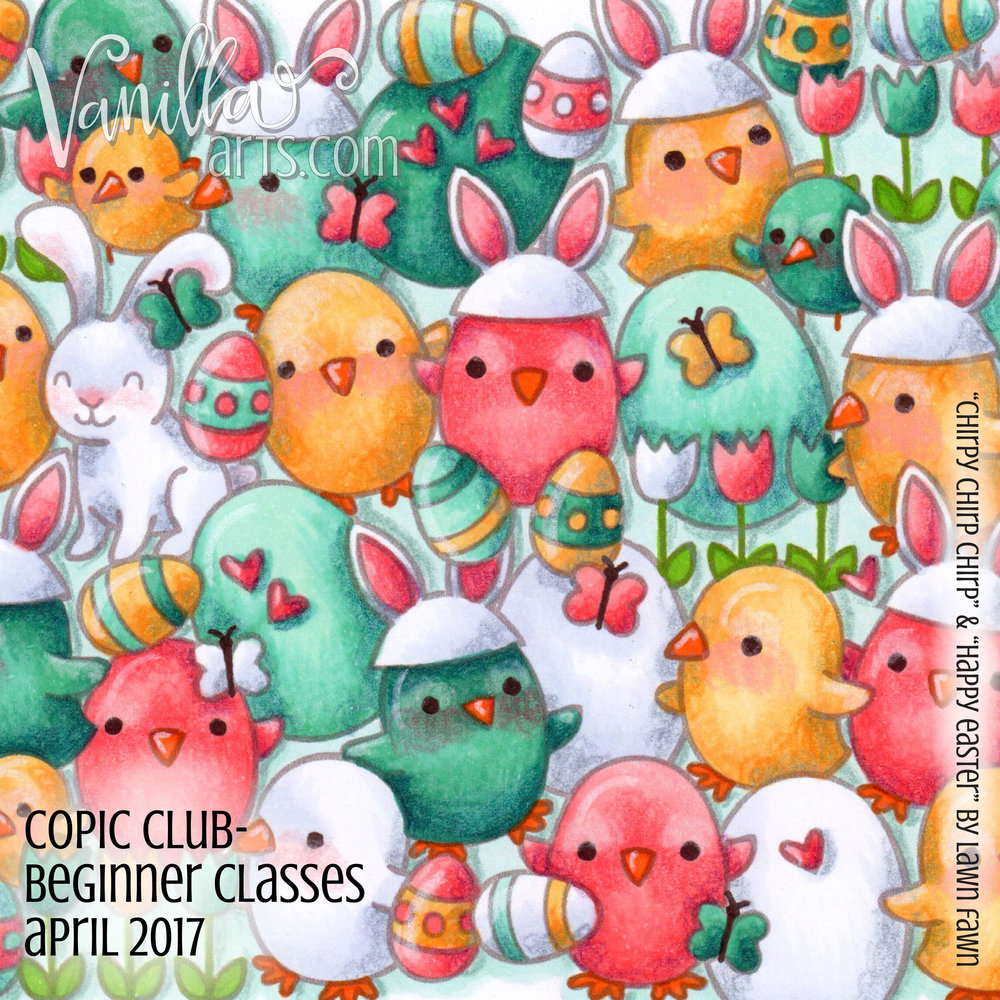 "Copic Club- Casual and beginner level coloring class, ""Where's Bunny?"" a lesson on depth and dimension for beginning colorers. April 2017 