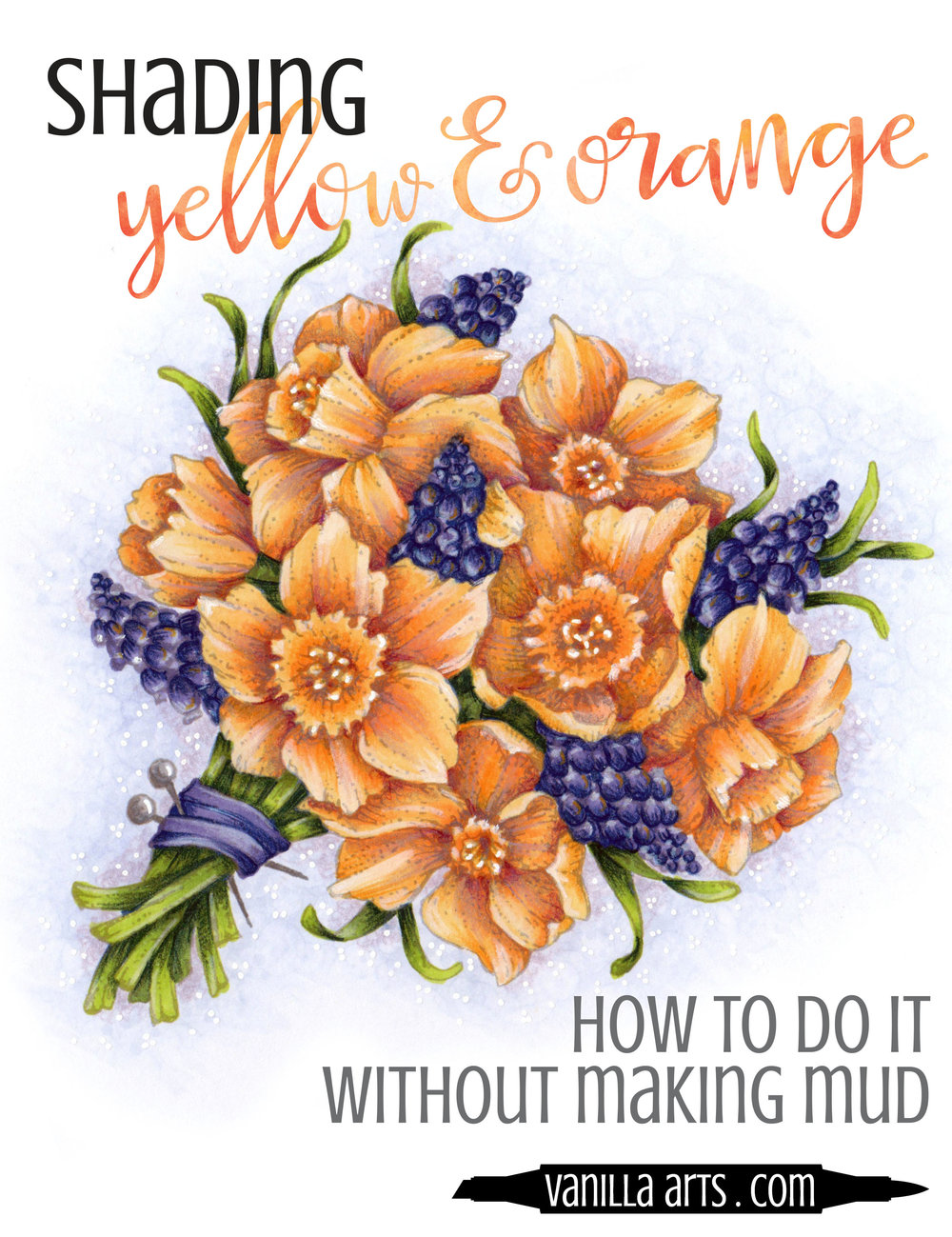 Learn to shade yellow and orange without making mud! Beginner Copic Marker lessons. | VanillaArts.com