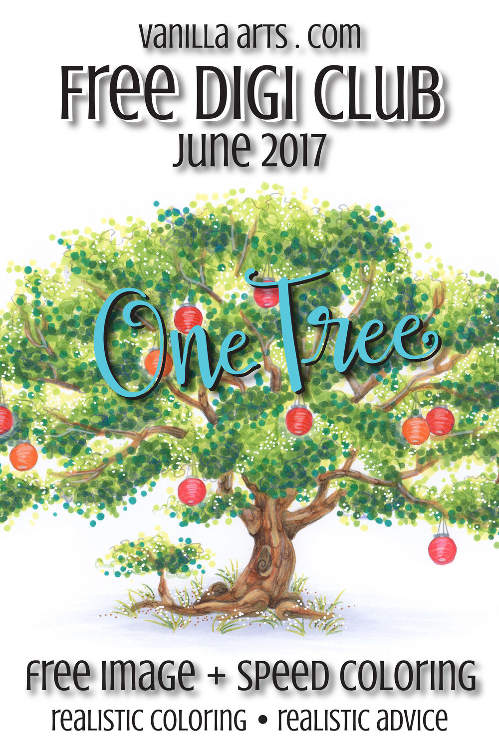 "Get your FREE copy of the ""One Tree"" digital stamp for June 2017. Vanilla Arts Company stamps are designed especially for use with Copic Markers, colored pencil, even watercolor. Join the Free Digi Club for a new stamp every month! 