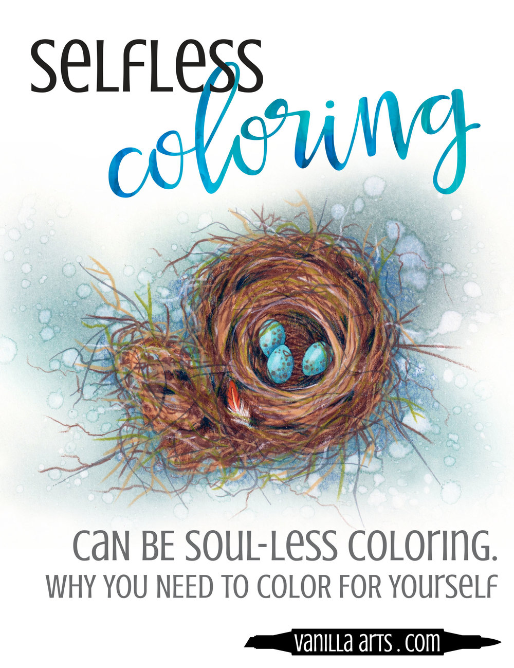 It's okay to be selfish in art. If you only color cards and presents to give away, you're killing yourself slowly. Why you need to start coloring for yourself. | VanillaArts.com- Copic Markers, colored pencils, watercolor
