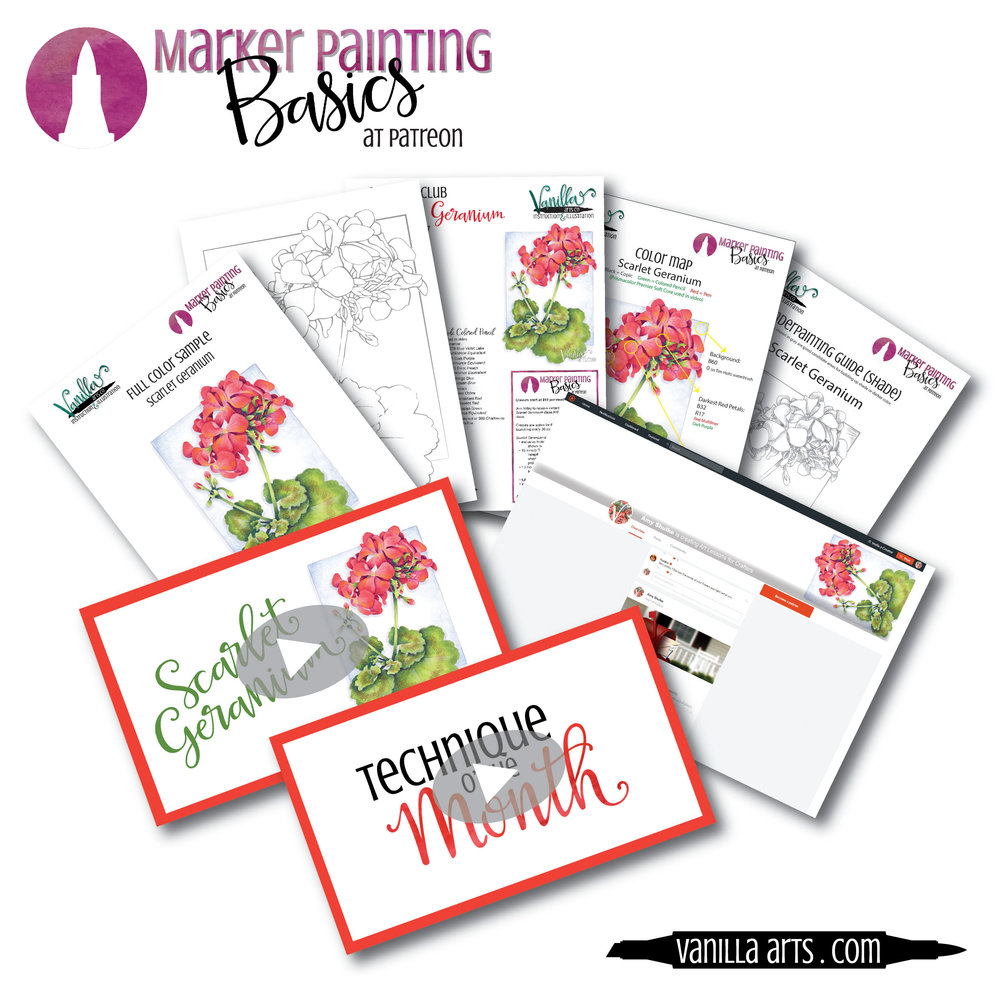 """Scarlet Geranium"" Beginner/Intermediate level coloring class for Copic Marker + colored pencil. | VanillaArts.com"