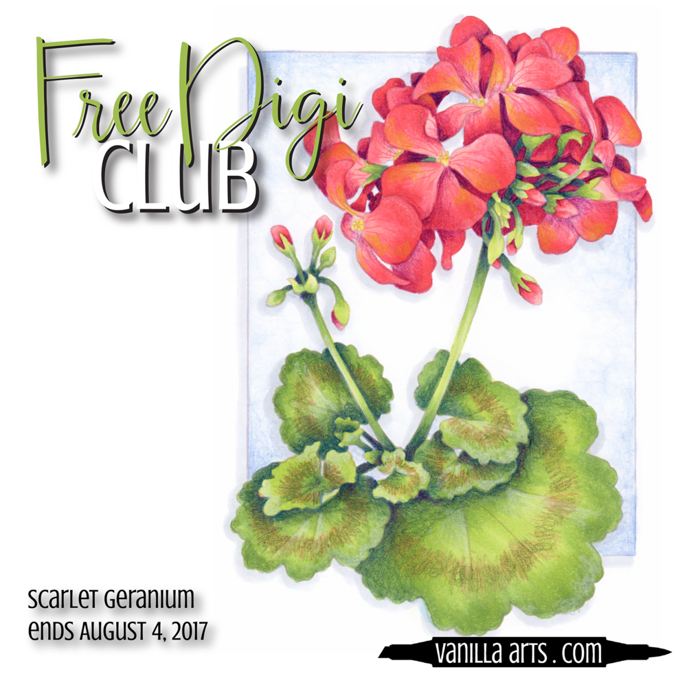 "Get your FREE copy of the ""Scarlet Geranium"" digital stamp in July 2017. Join the Free Digi Club for a new stamp every month! 