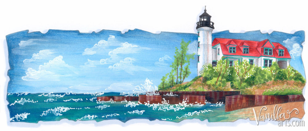 Point Betsie, an introduction to Copic Marker landscapes. Learn to add realism and texture to your scenic stamp images. | VanillaArts.com