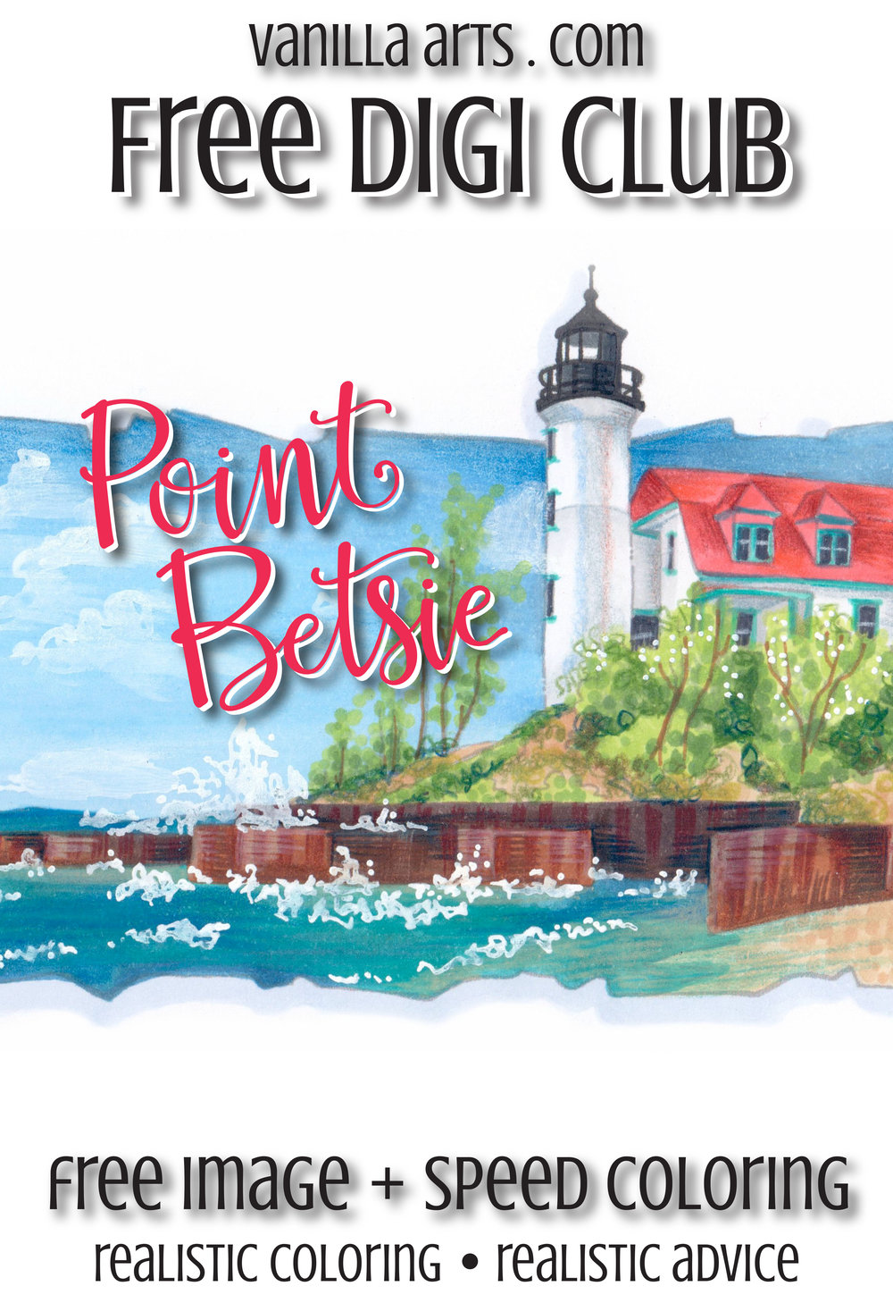 """Get your FREE copy of the """"Point Betsie"""" digital stamp in August 2017. Join the Free Digi Club for a new stamp every month! 