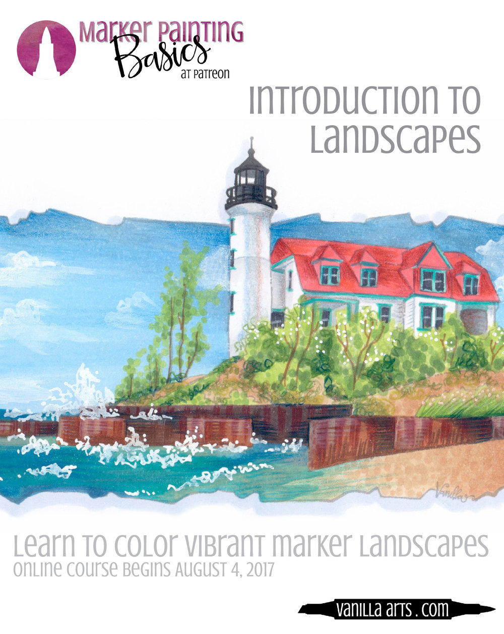 """Point Betsie"" is the August/September 2017 online Copic coloring lesson for Marker Painting Basics. Beginner level class with challenges for intermediate and advanced students. 
