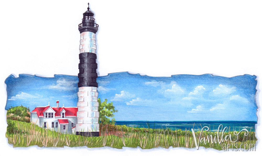 """Big Sable Point"" a digital stamp by Amy Shulke of VanillaArts.com. Learn to color landscapes using Copic marker, colored pencils, and a dash of point. 