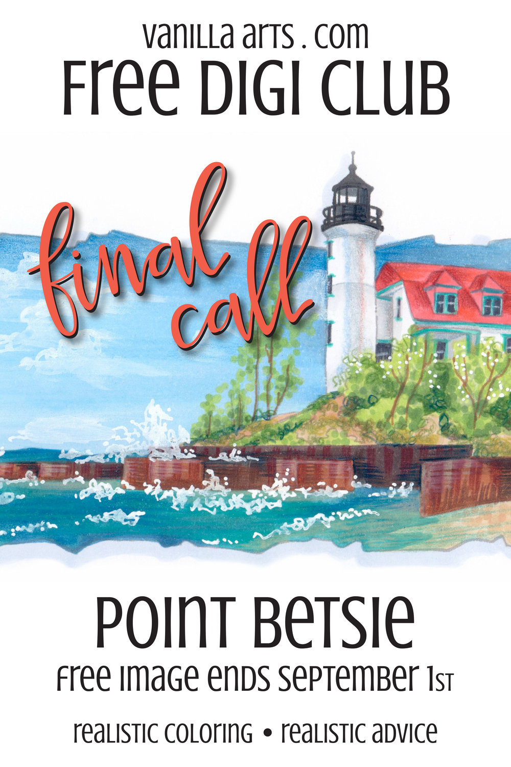 """Final Call for """"Point Betsie""""- a FREE digital stamp that's perfect for Copic Marker, colored pencils, even watercolor! Get your downloadable copy at VanillaArts.com"""