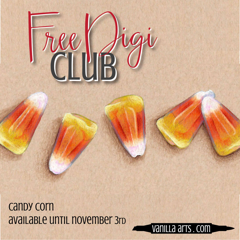 """Get your FREE copy of the """"Candy Corn"""" digital stamp in October 2017. Join the Free Digi Club for a new stamp every month!   VanillaArts.com"""