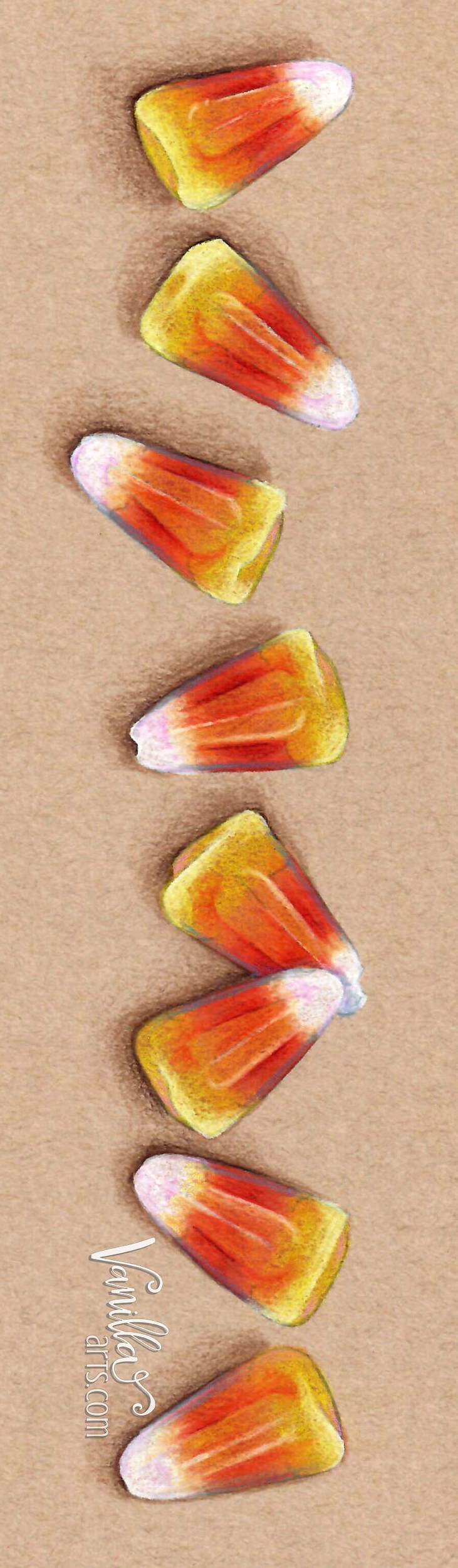 """""""Candy Corn"""", an introduction to coloring vibrant colors with realism on colored papers and cardstocks.   VanillaArts.com"""