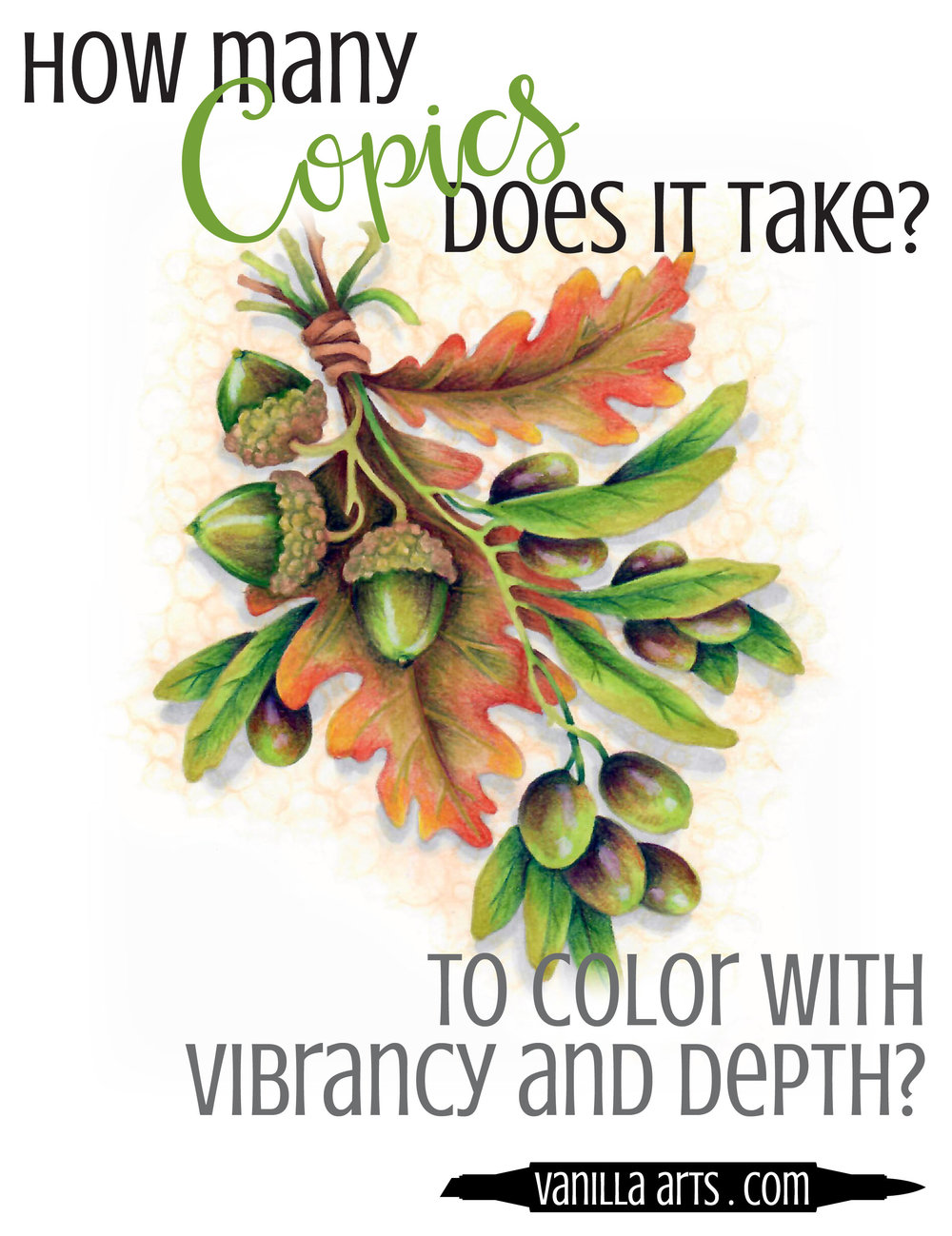 Learn to make the most of a very limited number of markers. Adding colored pencil can expand your color palette and save money. | VanillaArts.com