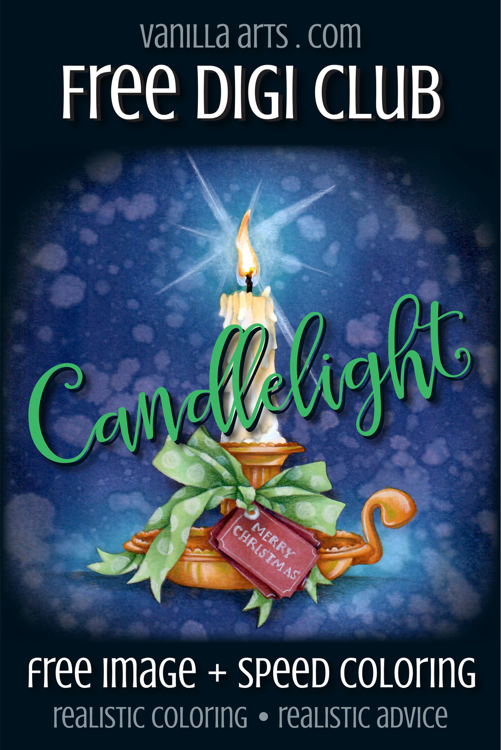 """Get your FREE copy of the """"Candlelight"""" digital stamp in December 2017. Join the Free Digi Club for a new stamp every month!   VanillaArts.com"""